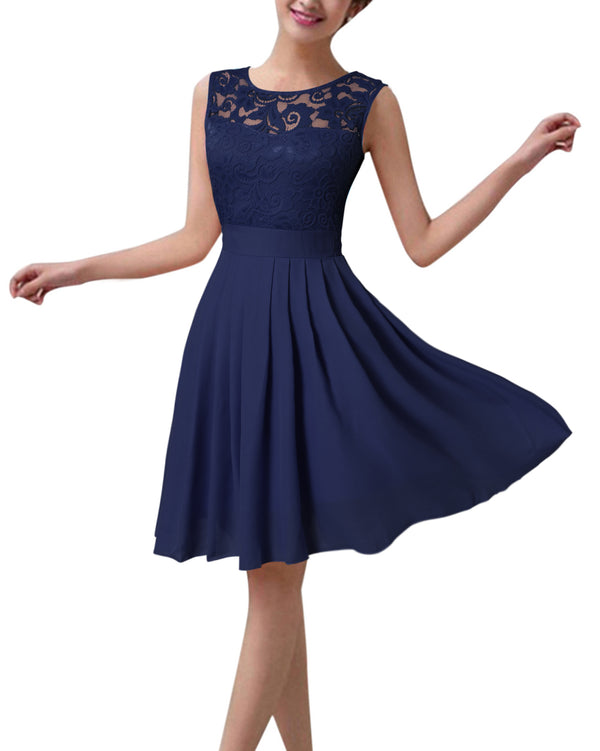 Women's Lace Bridesmaid Cocktail Evening Midi Dress