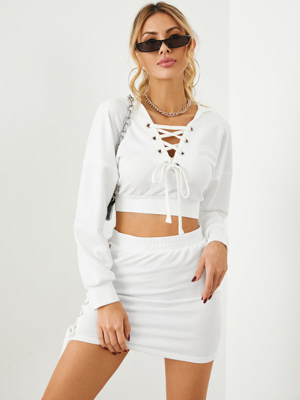 Cross Front Lace-Up Design Hooded Long Sleeves Top & Skirt Set