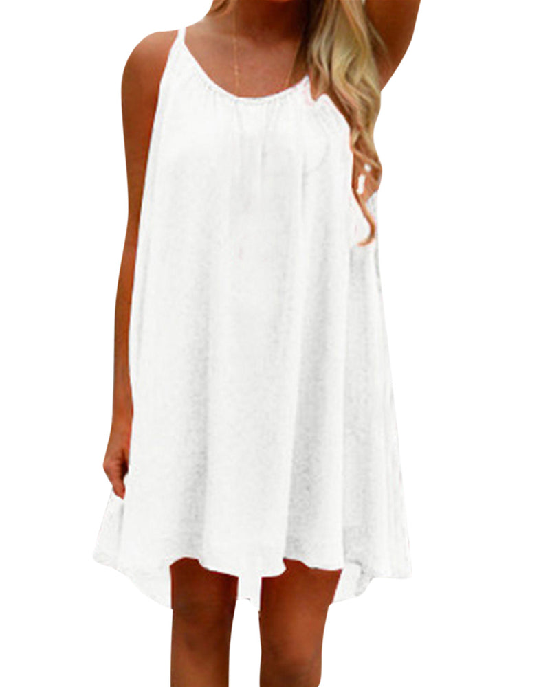 Women's Summer Halter Mini Dress Beach Cover Ups