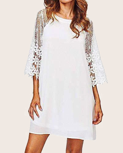 Women's Lace V Neck 3/4 Bell Sleeve Cocktail Party Dress - Coendy