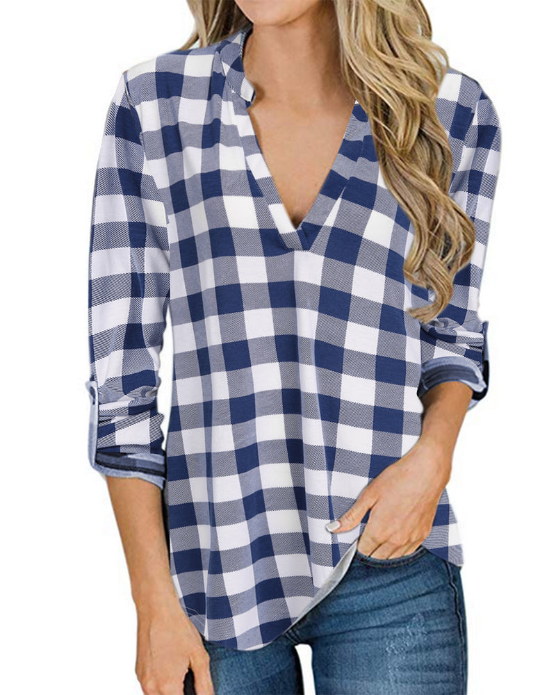 Women Blouses Grid Pattern Tees Top - Coendy