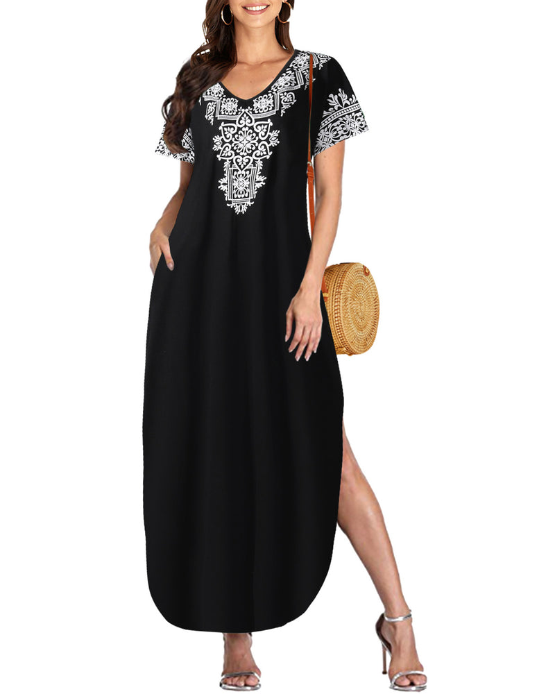 Womens' Short Sleeve Side Slit Loose Maxi Dresses