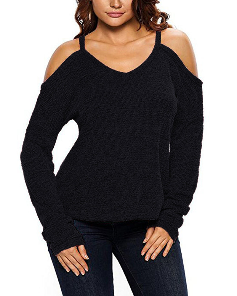 Womens V Neck Tops Pullover Sexy Cold Shoulder T Shirt