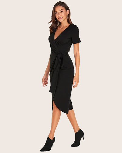 Ruched Bodycon Casual 3/4 Sleeve Midi Dress - Coendy