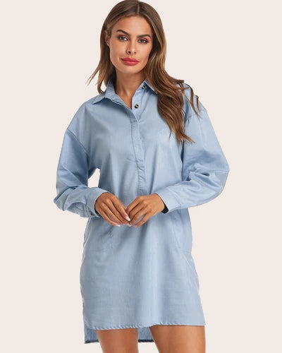 Women's Lapel Button Down Long Sleeve Blouse Denim Shift Mini Dress - Coendy