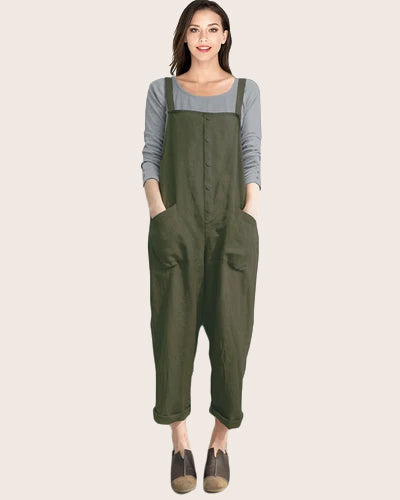 Women's Strappy Casual Harem Overalls - Coendy