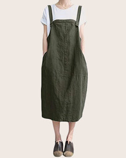 Women's Casual Strapless Suspender Skirt with Side Pockets - Coendy