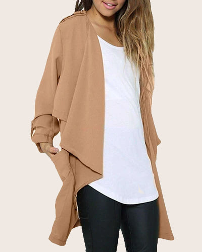 Women Chiffon Waterfall Trench Coats Cardigan - Coendy