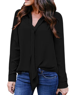 Women Chiffon Blouse Long Sleeve V Neck Tie Front