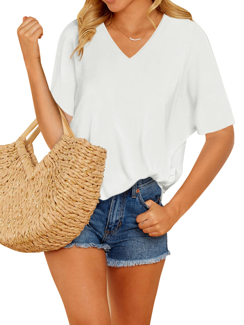 Solid Basic Short Sleeves T-Shirt V-Neck Casual