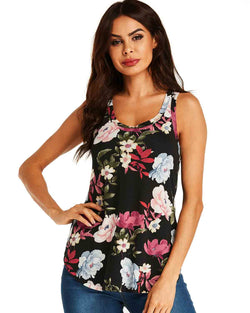 Women's Floral Tank Tops Summer Sleeveless Blouses - Coendy