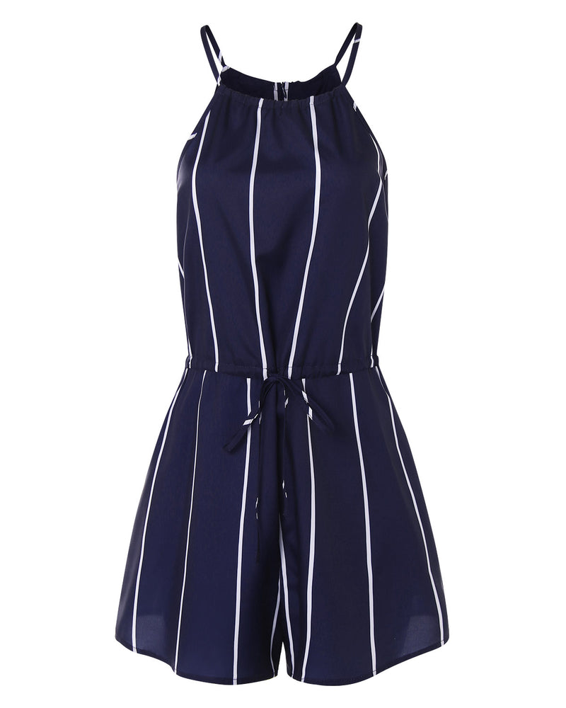 Women Sexy High-Waisted Stripe Overall Romper - Coendy