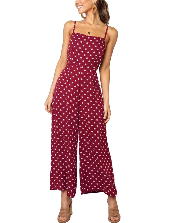 Womens V Neck  Summer Sleeveless Spaghetti Strap Jumpsuits - Coendy
