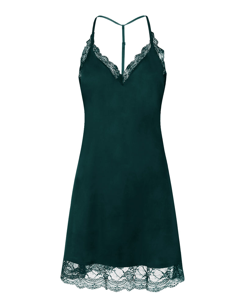 Women's Sexy Satin Ribbon Lace Nightgown - Coendy
