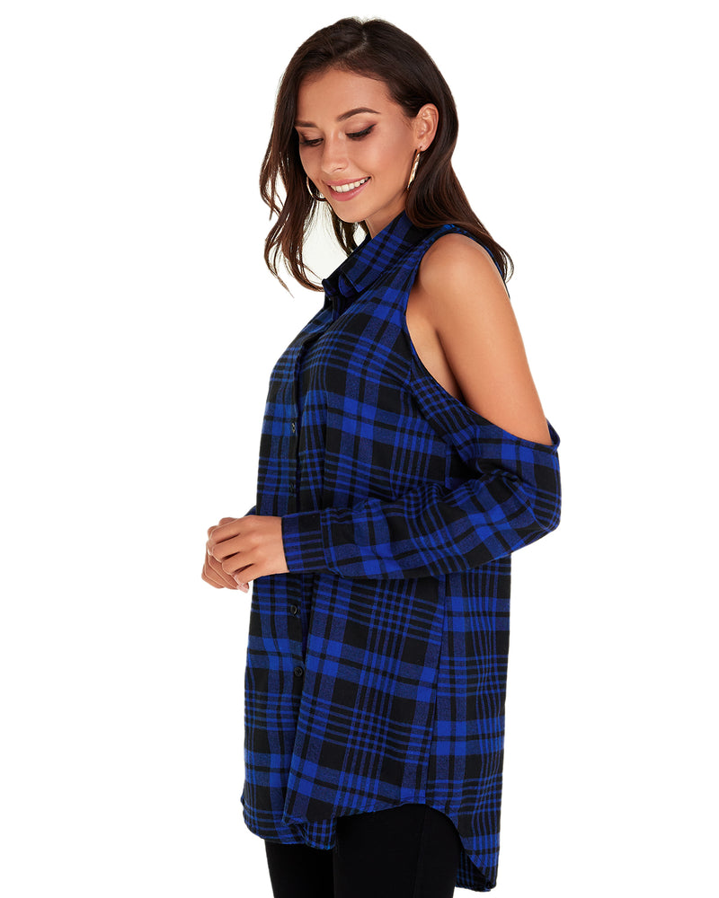 Womenr Tops Plaid Shirts Off Shoulder Blouse - Coendy
