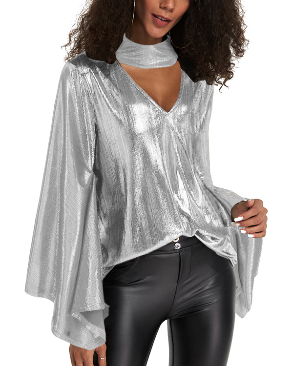 Women Sequined Tops Sexy Party Club Shirt Blouse - Coendy