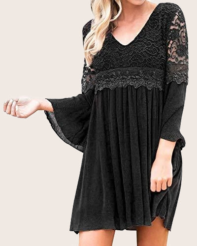 Women's Long Sleeve Swing Casual Dress - Coendy