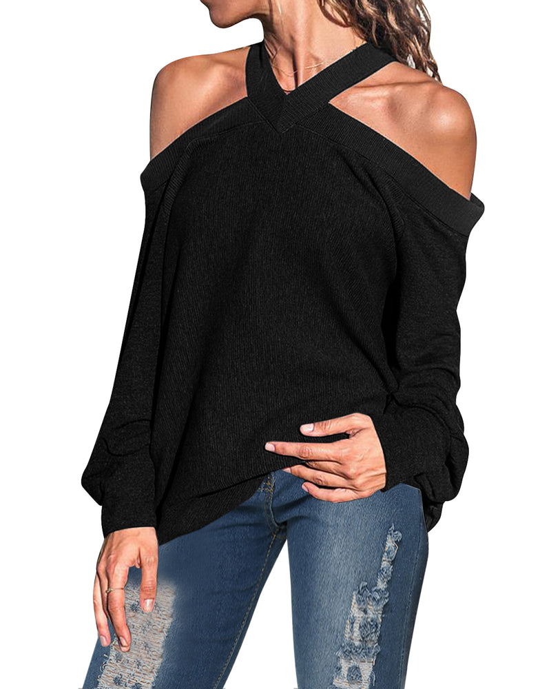 Women's Off The Shoulder Tops Spaghetti Halter Blouse Long Sleeve Casual Loose Shirt
