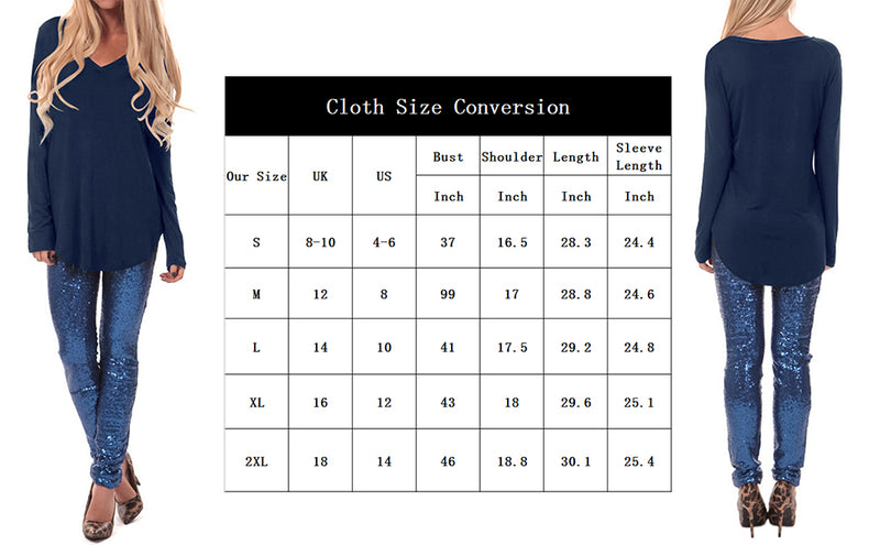 Long Sleeve Tops Casual V Neck Tunic Shirts Top Basic Tees Blouses