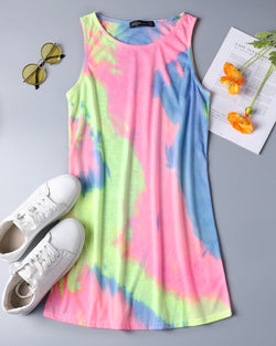 Women's T Shirt Dress Tie-dye Floral Print Tank Mini Dress