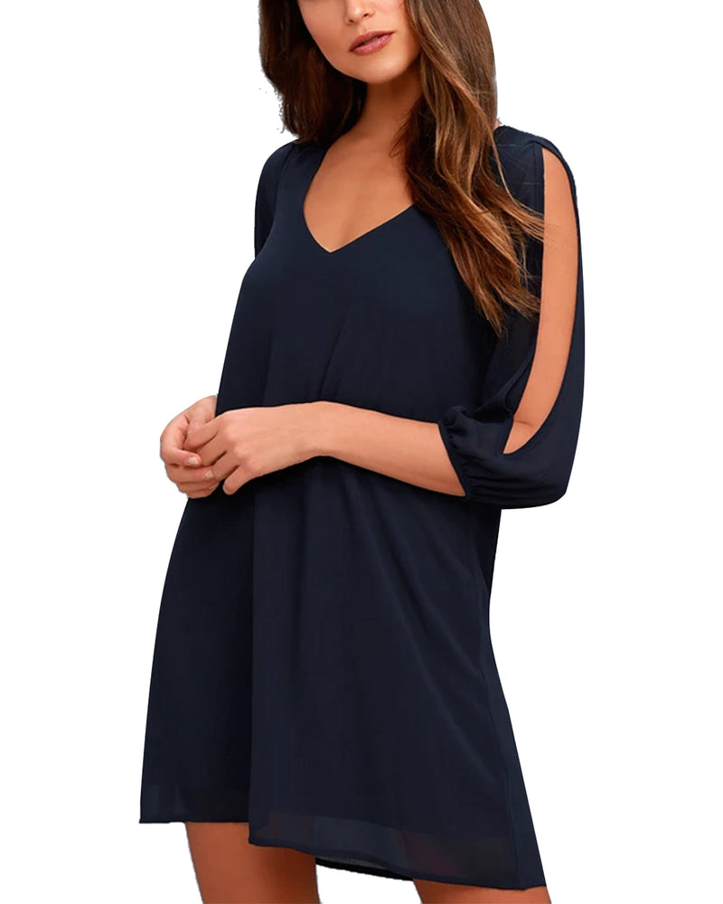 Women's Loose Solid Beach Swing Mini Dress