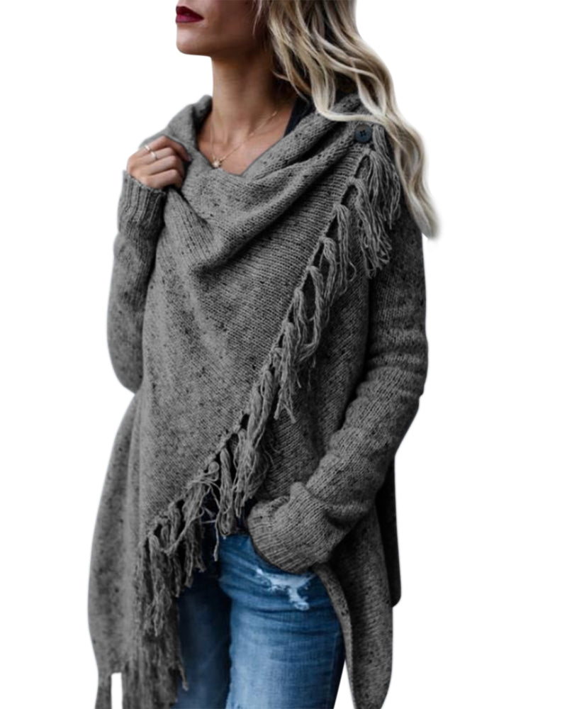 Women's Open Front Tassel Knit Striped Slash Hem Poncho