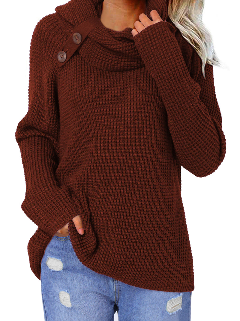 Women's Chunky Turtle Cowl Neck Button Sweater