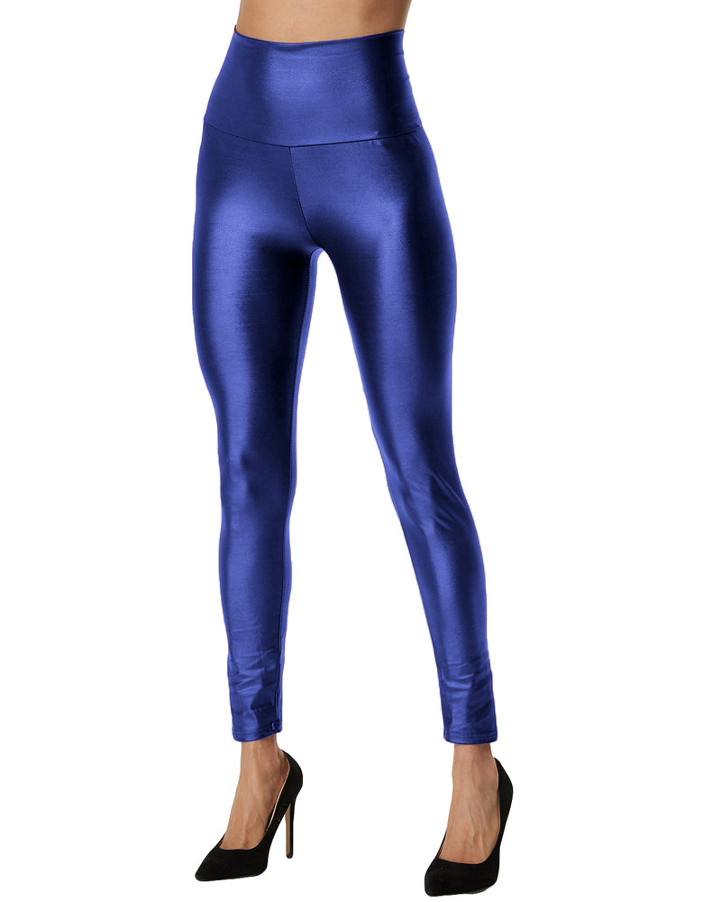 Women Faux Leather High Waisted Leggings - Coendy