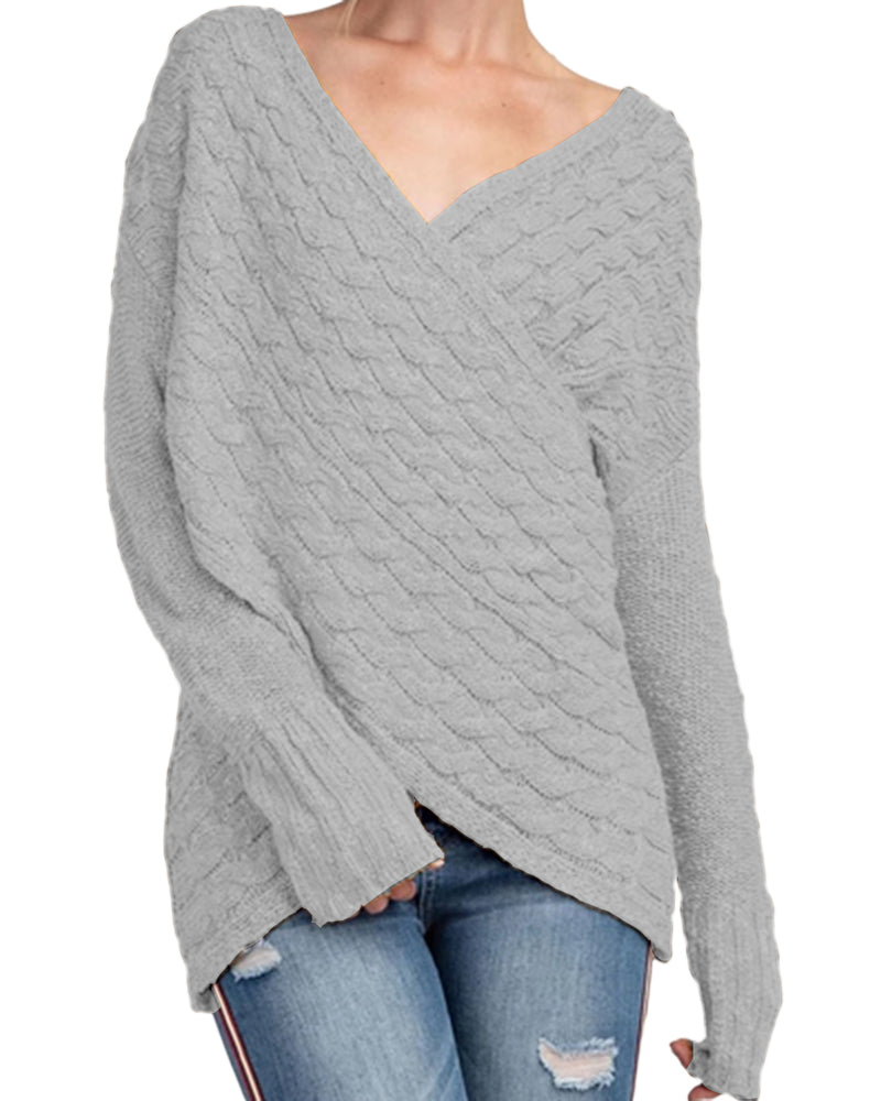 Sweaters for Women Long Sleeves Irregular Hem Jumpers Cross Front V Neck Knit Tops