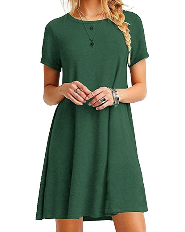 Mini Dress for Women Short Sleeves Solid Casual Loose