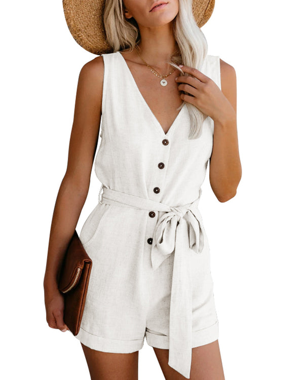Solid Short Rompers for Women Casual Long Sleeve Casual Belted Wrap Button Down