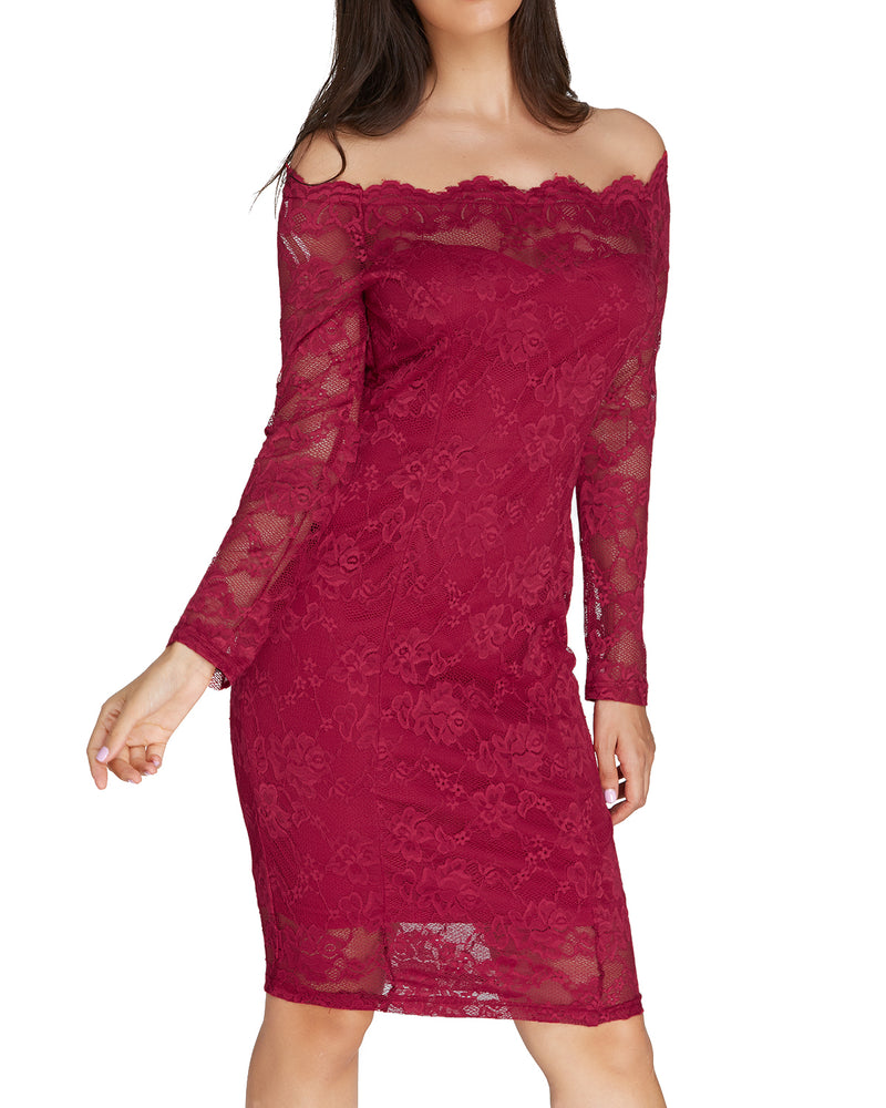 Long Sleeve Midi Party Cocktail Lace Dress - Coendy