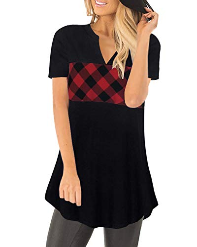 Women's Plaid Shirts Tees Loose Tunics Blouses Tops - Coendy