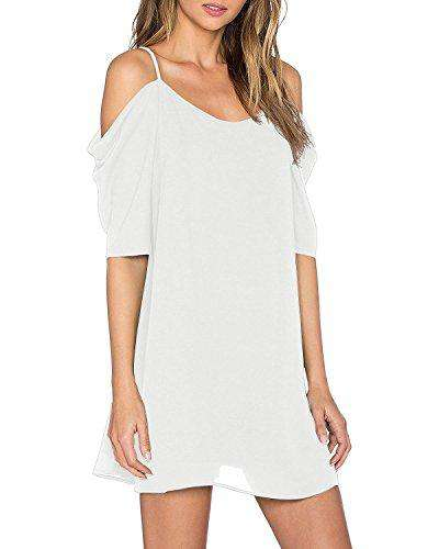 Womens Sexy Cold Shoulder Flowy Dress - Coendy