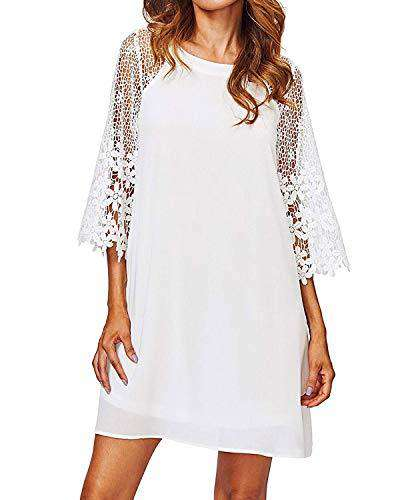 Zanzea Women's Lace V Neck 3/4 Bell Sleeve Cocktail Party Dress