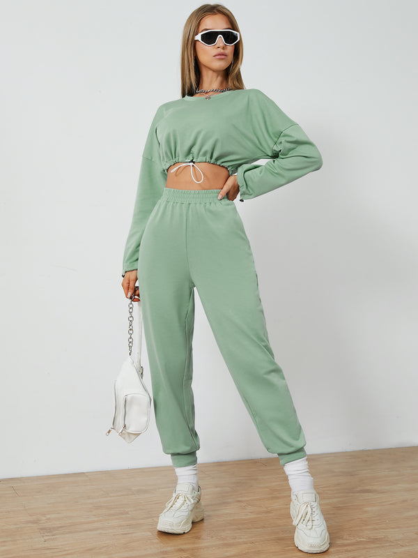 Crew Neck Drawstring Long Sleeves Top & Pants Set