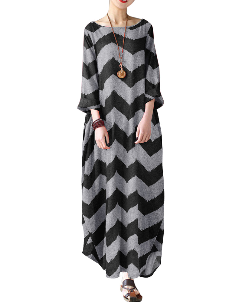 Autumn Wave Pattern Loose Maxi Dress Cotton Kaftan