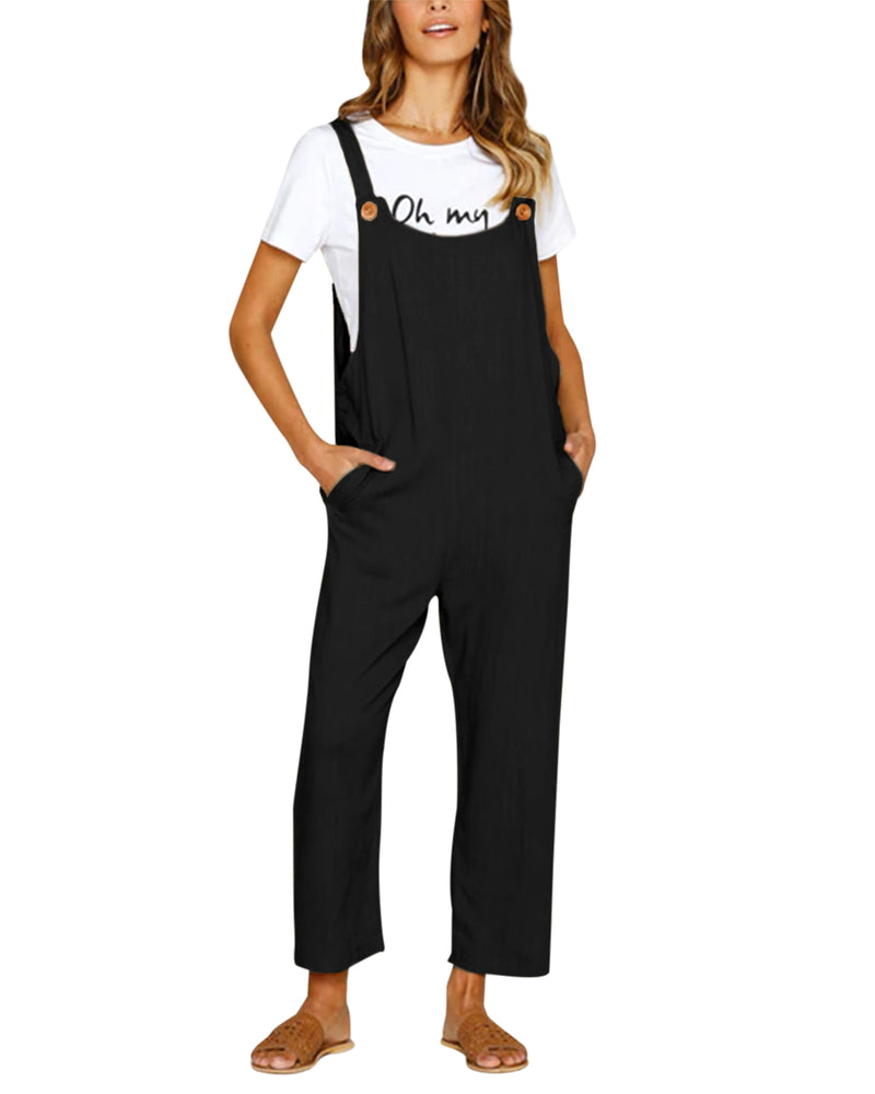 Women Baggy Overalls Cotton Casual Strappy Jumpsuits - Coendy