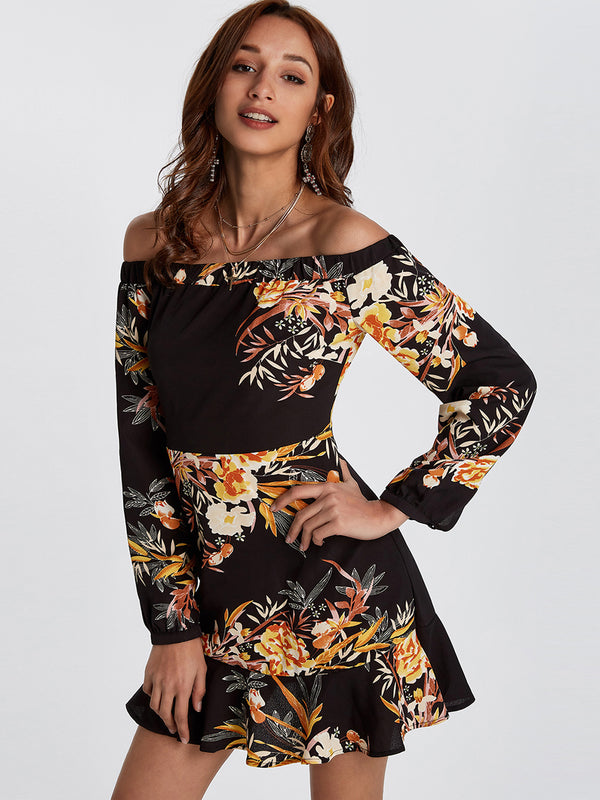 Women Floral Print Sexy Mini Dress - Coendy