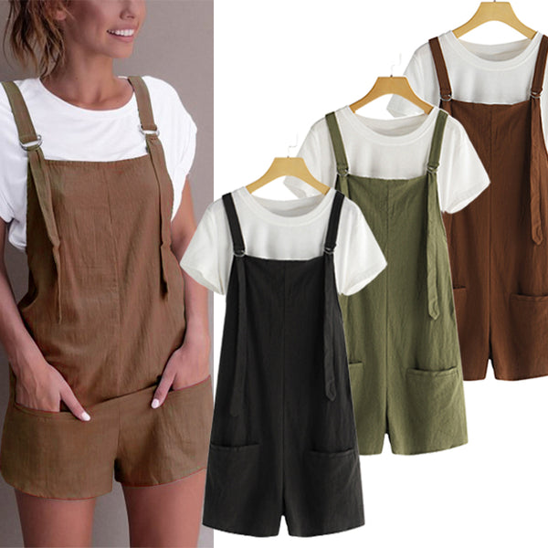 Women's Overalls Shorts Sleeveless Casual Jumpsuit Rompers - Coendy