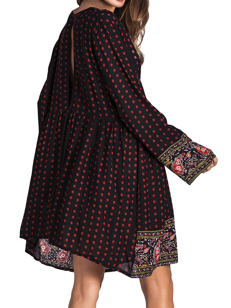 Women Boho Dress Floral Printed Mini Dress - Coendy