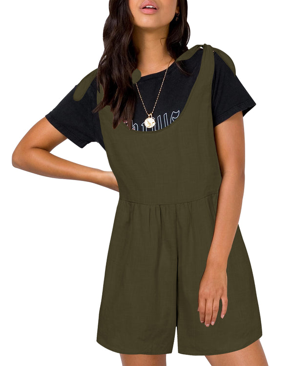 Women's Solid Overall Adjustable Straps with Pockets Casual