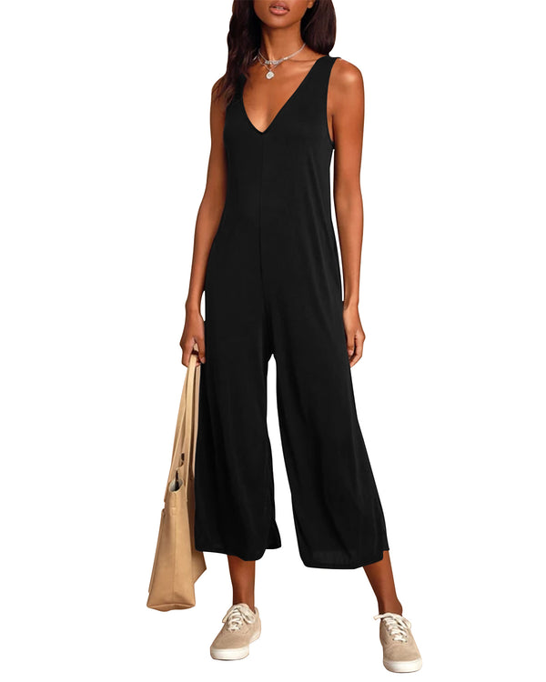 Women's Casual Solid Sleeveless Jumpsuits V Neck Wide Leg