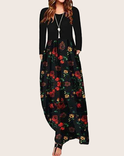 Womens Floral Printed Maxi Casual Dress - Coendy