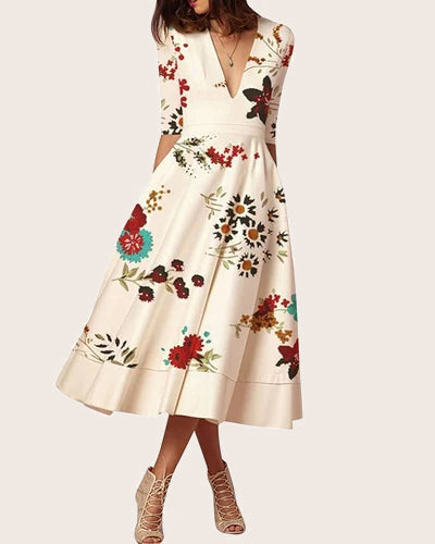 Women Floral Print Formal Evening Dress - Coendy