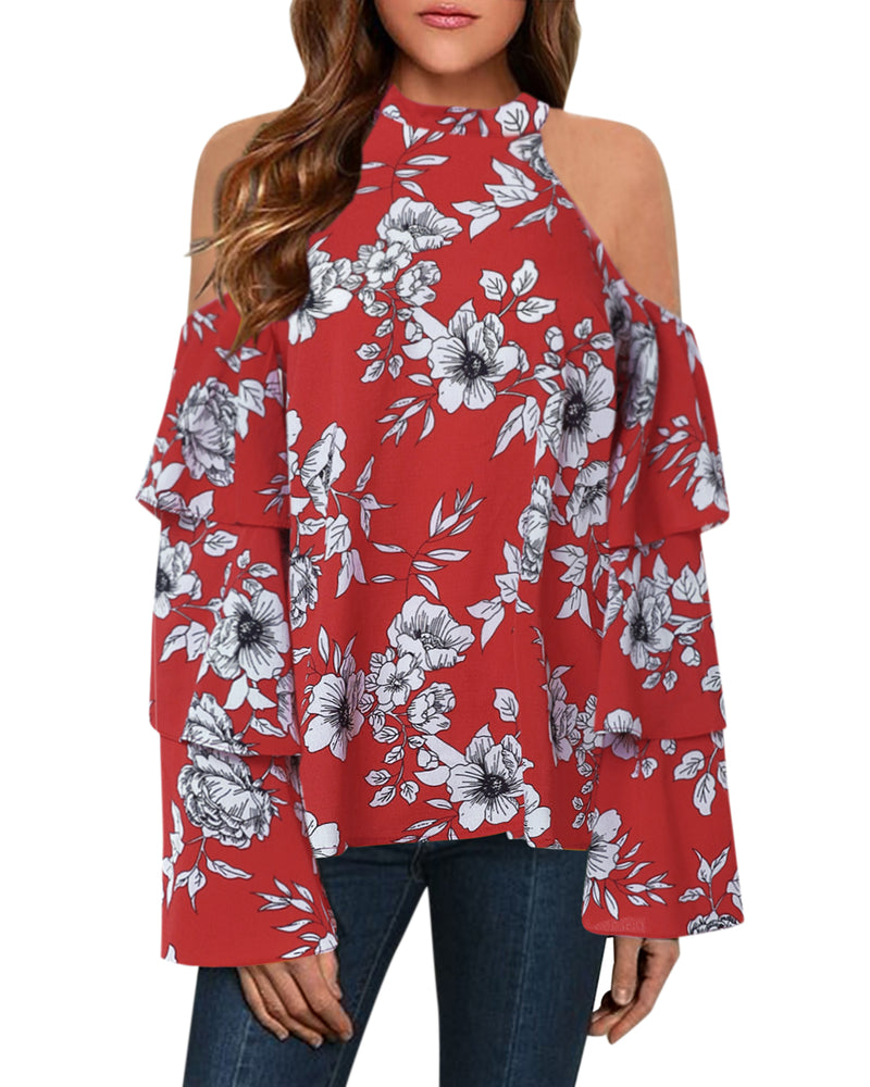 Women's Chiffon Cold Shoulder Tops Long Sleeves Floral Halter Blouse