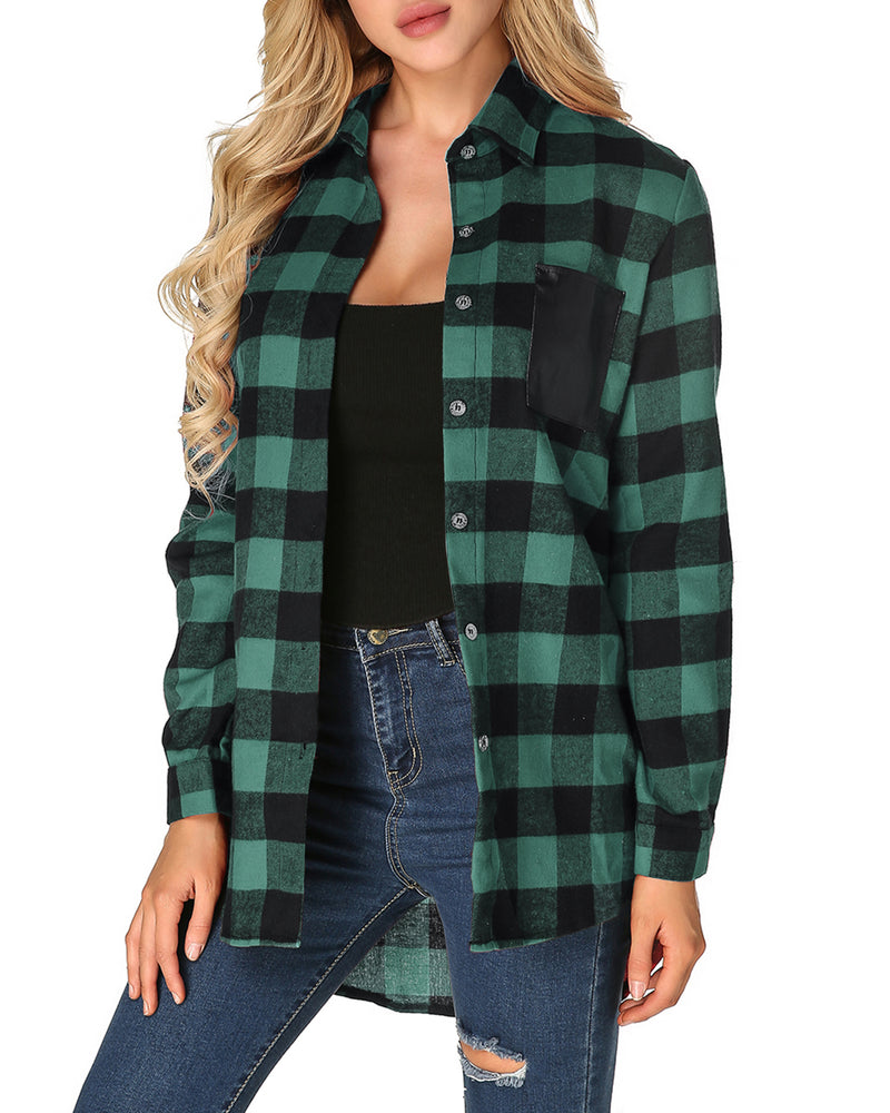 Women Tops Casual Plaid Flannel Button Down Shirt - Coendy