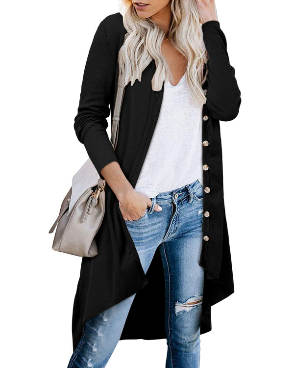 Women's Open Front Long Sweater Cardigans Casual Knit Lightweight Kimono Coat