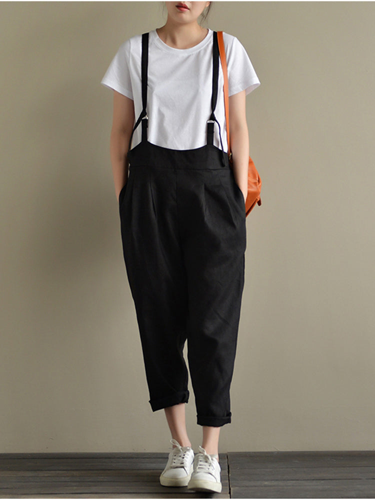Women's Strappy Harem Pants Casual Overalls Low Crotch Loose Jumpsuits with Pockets