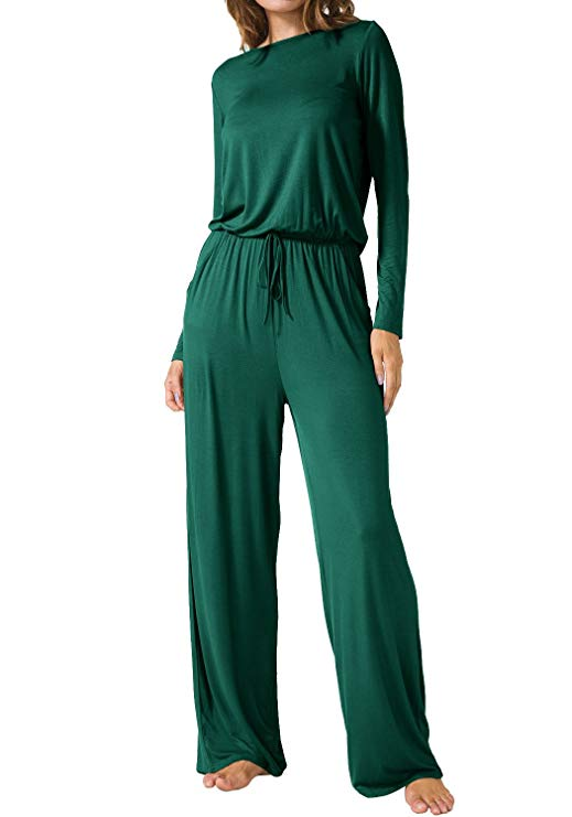 Women Rompers Waist Belted Long Pants Outfit - Coendy
